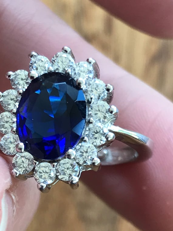 Simulated sapphire and CZ cluster ring set in Sterling silver Royal style engagement ring