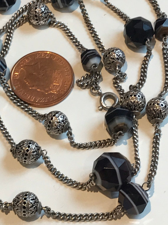 Long Antique Banded agate and 900 silver Sautoir necklace 30 inches