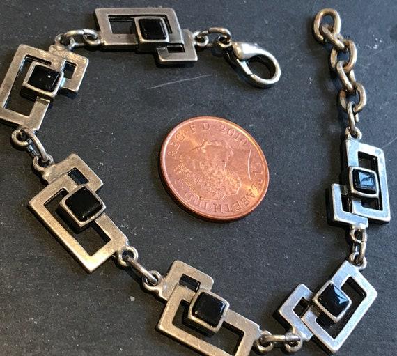 Vintage silver and Onyx brutalist modernist style bracelet signed P.B.