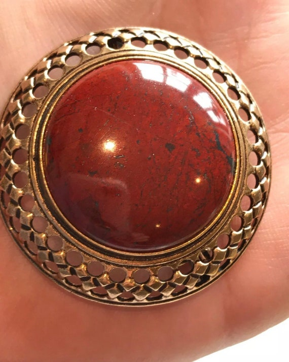 Original vintage Brooch by Kalevala Koru (Finland) Bronze large red stone Signed