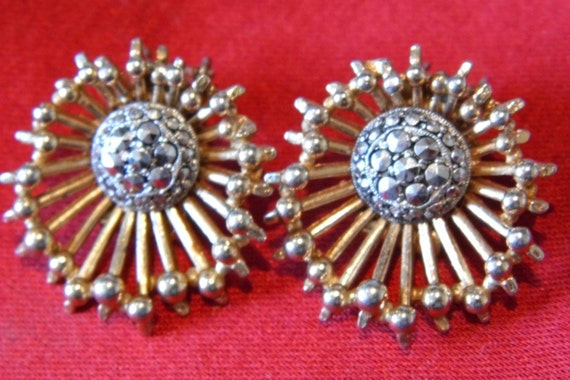 A beautiful pair of vintage clip-on earrings by makers KIGU c1960s