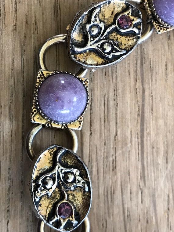 Vintage silver toned faux purple agate Celtic style Scottish thistle pebble bracelet c1950/60s