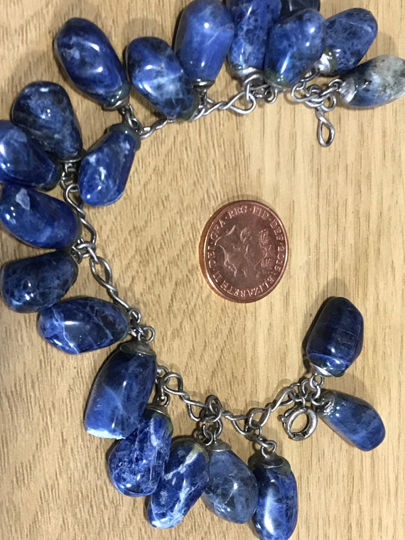 Vintage blue agate stone chain beaded charm bracelet