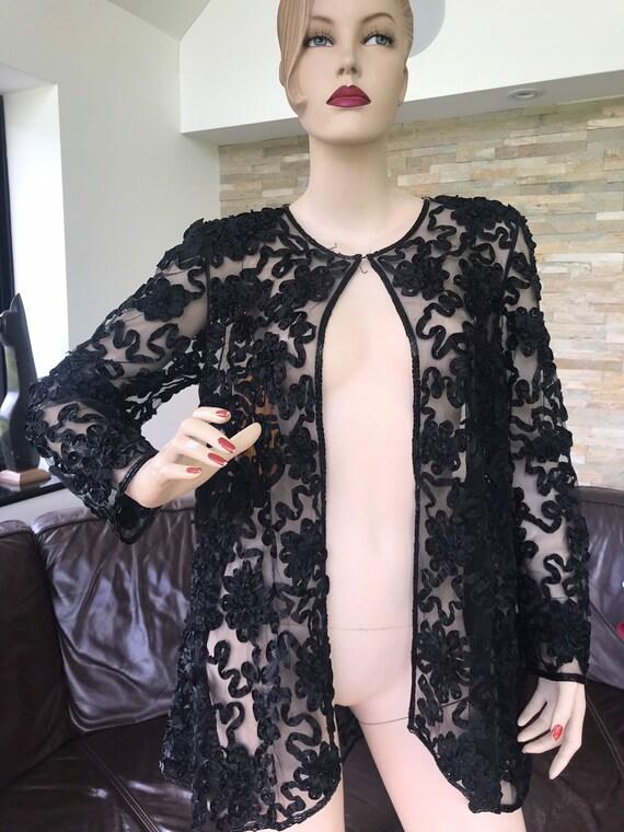 Vintage Frank Usher black lace beaded  evening jacket