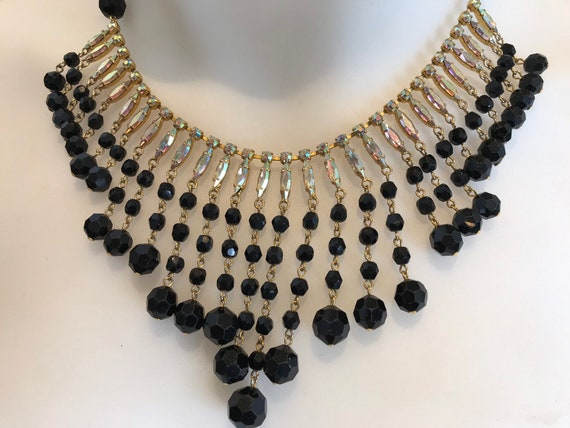 Stunning 1960s black glass and aurora Borealis crystal Statement bib collar necklace