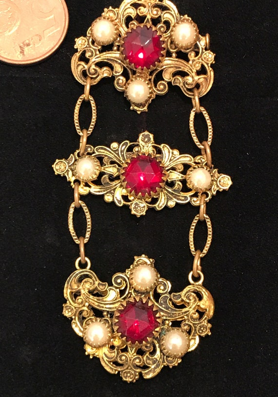 Stunning red glass elaborate vintage Czech dangle drop brooch Statement piece jewellery