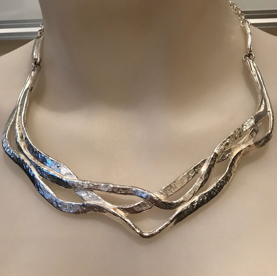 Silver Plated Pewter Brutalist Style Necklace BY  IL etait une Fois