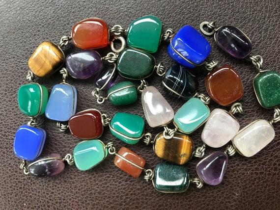 Beautiful vintage chunky bezel set semi precious stone 800 silver necklace