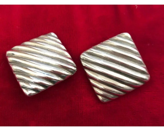 Vintage Large Signed 925 Taxco Silver Mexican Clip On Earrings
