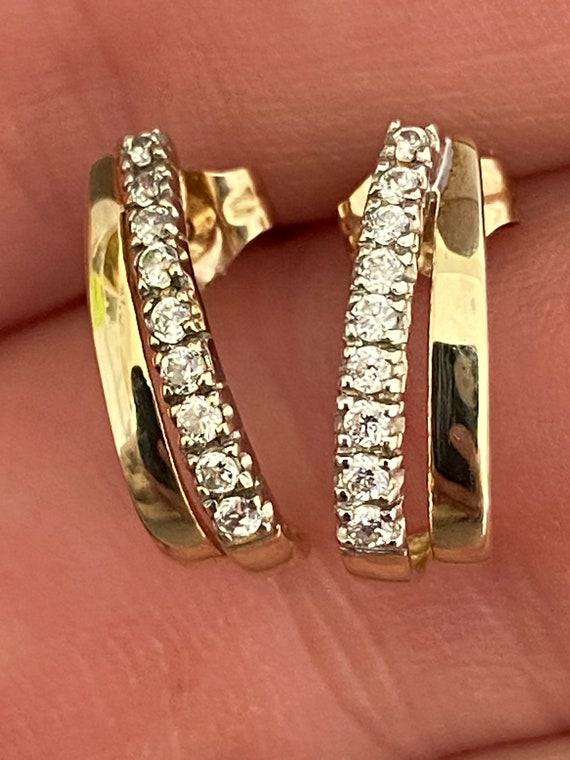 9ct gold and CZ half hoop cuff style pierced earrings