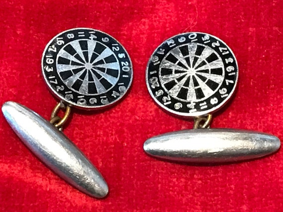 Vintage enamelled dartboard cufflinks mens gift Father's Day