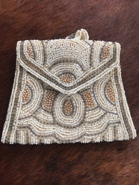 Beautiful Vintage French Art Deco beaded purse small evening bag wedding day clutch