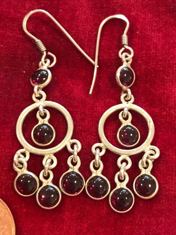 Vintage 925 Sterling Silver and amethyst glass bohemian style drop earrings