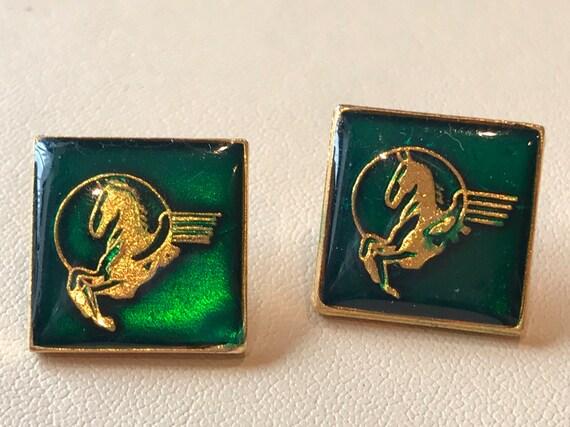 Vintage Tie Tack Pins Gold Horse Racing Mobil Logo Flying Pegasus Green Enamel pair