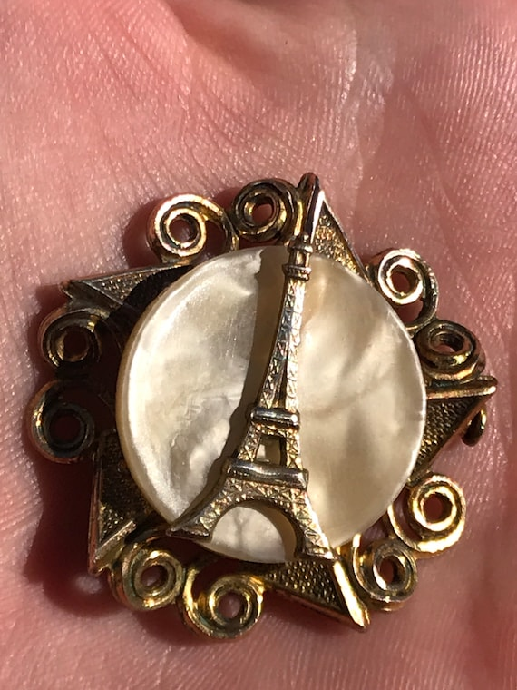 Vintage 1940s French lucite Eiffel Tower Souvenir brooch pin signed FRANCE Trombone clasp