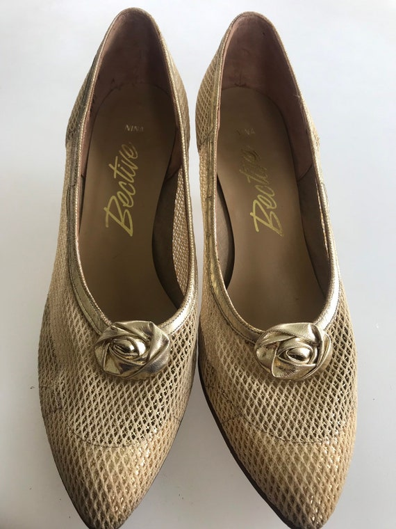 Vintage Nina Bective 1970's gold mesh party shoes size 7
