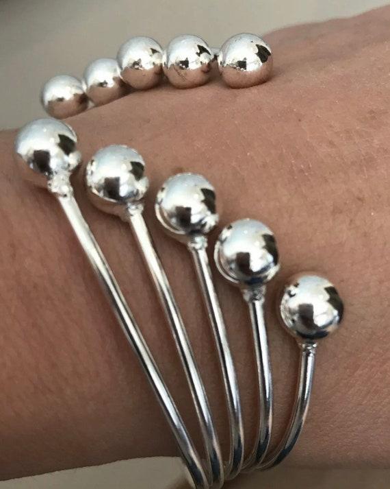 Unusual 925 Solid Silver Modernist Style Multi Ball Cuff Bangle