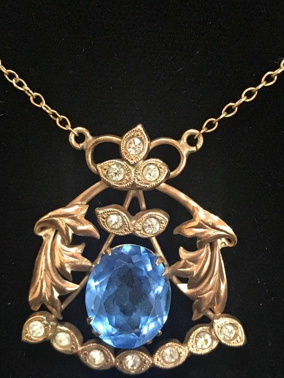 Vintage 1/10 coated 9ct gold Art Nouveau blue stone necklace