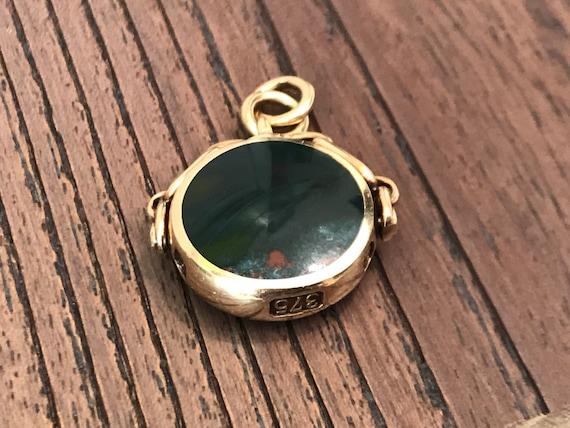 Vintage 375 9 carat gold Spinning Carnelian and Bloodstone fob by David Scott Walker Sheffield