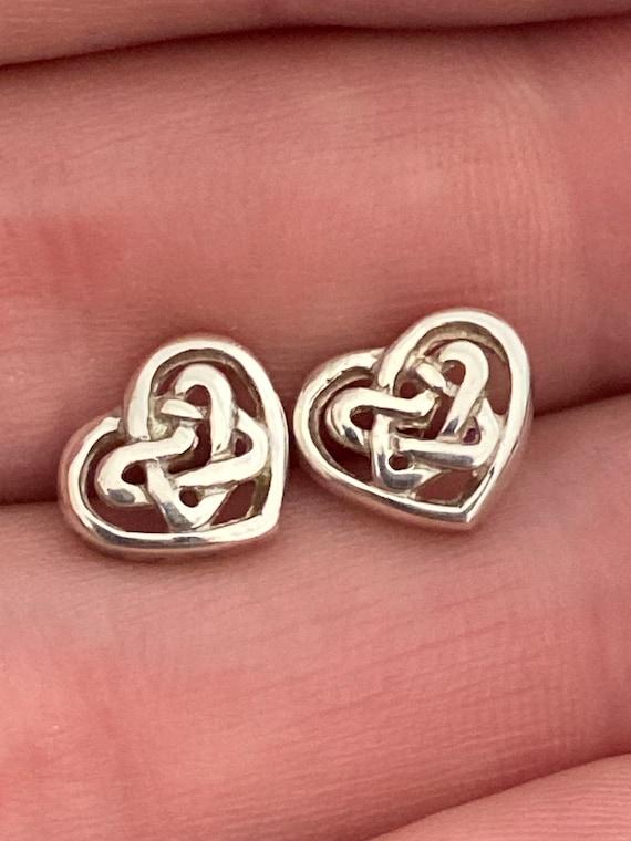 Sterling 925 silver Celtic heart style stud backed earrings