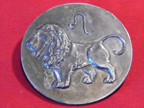 Original Arts and Crafts pewter Lion brooch