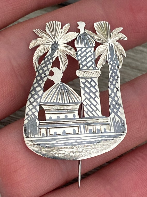 Vintage Middle Eastern neroli silver Mosque palm tree brooch