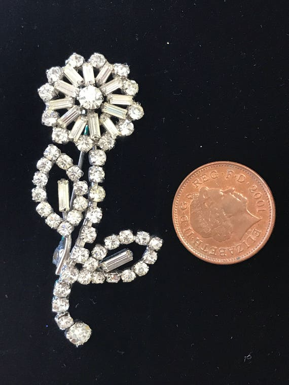 Opulent  Art Deco style diamante flower brooch/pin  c 1960s