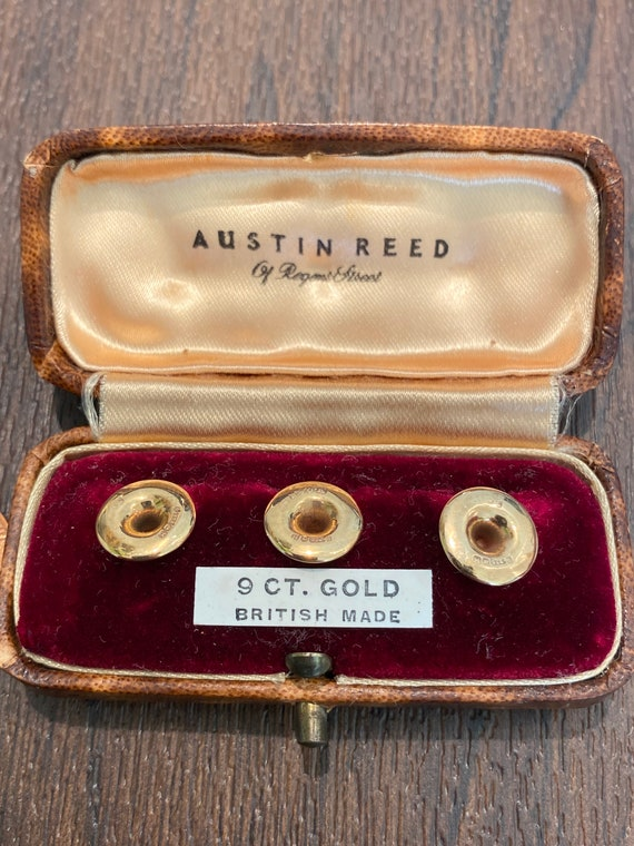 Vintage boxed 9ct gold collar studs Austin Reed of Regent Street c1950s