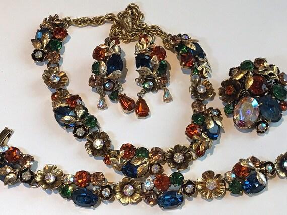 Stunning set of vintage rhinestone jewellery by jewelcraft c1950s