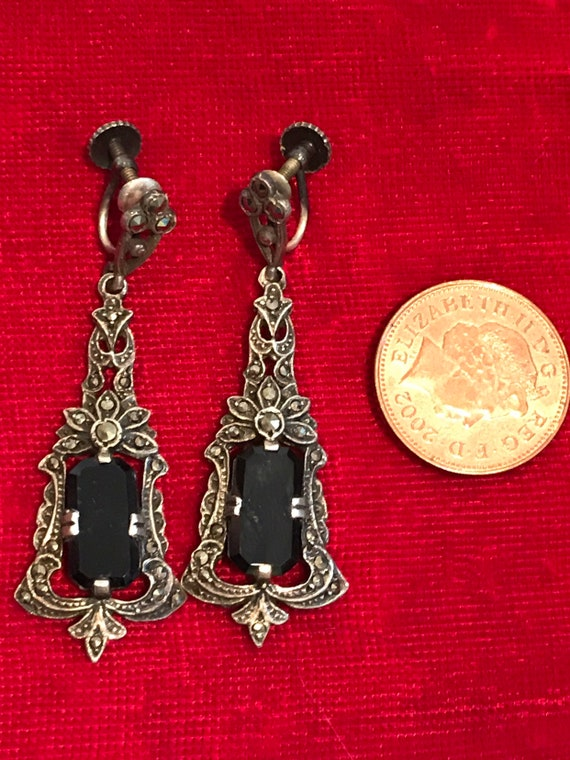 Exquisite Art Deco Sterling Silver and Marcasite long earrings