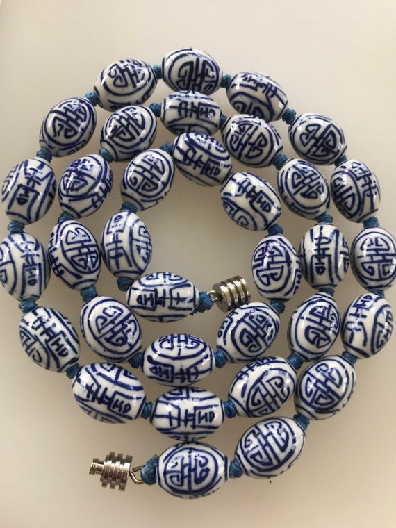 Striking Vintage blue and white hand painted porcelain beaded necklace