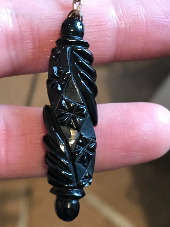 Antique Victorian Carved Whitby Jet pendant necklace