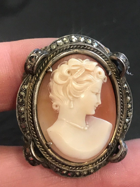 Sterling Silver (800) framed  carved shell cameo pin pendant brooch adorned with Marcasites