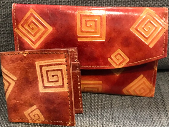 Vintage Moroccan tooled leather purse and card holder wallet matching set