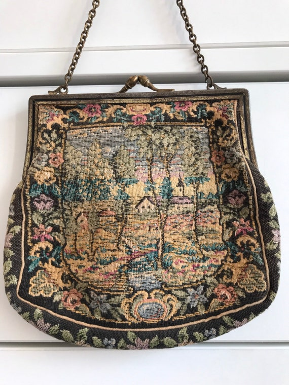 Vintage petit point tapestry evening clutch bag 1940-50s