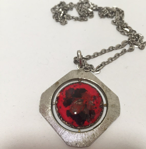 1960/70s coloured red glass enamelled modernist pendant with chain.