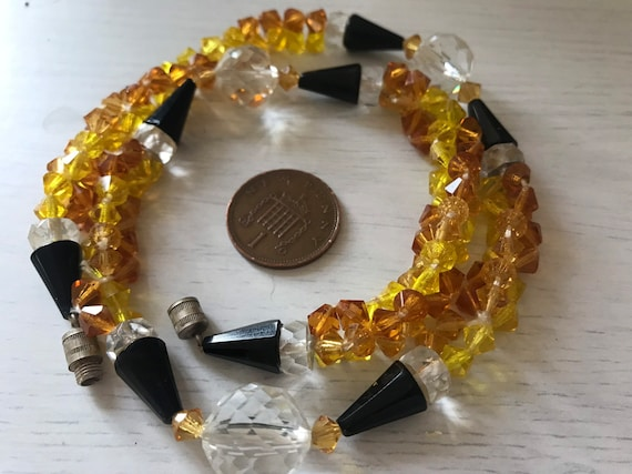 Vintage Art Deco Amber, yellow and black glass necklace