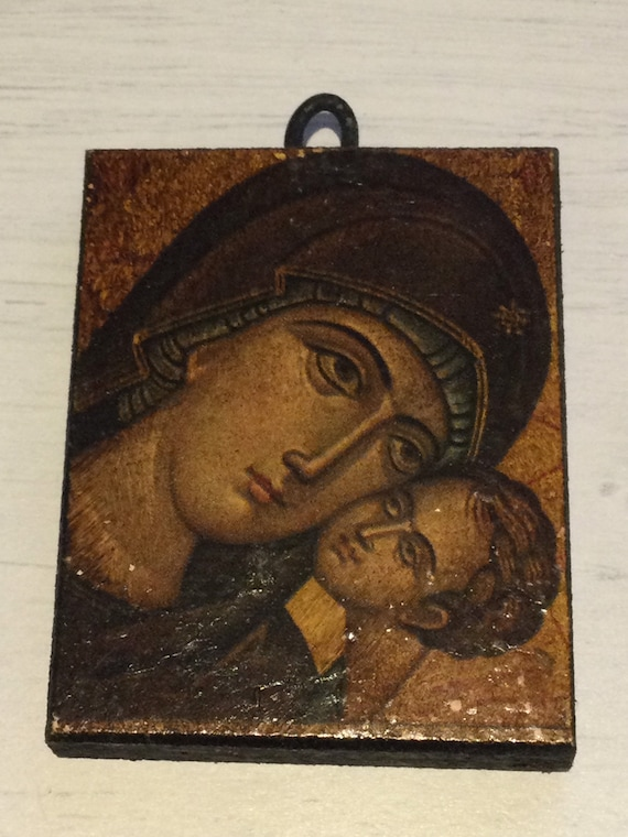 Small vintage wooden Orthodox Icon Mother and Child Travel size with hanging hook