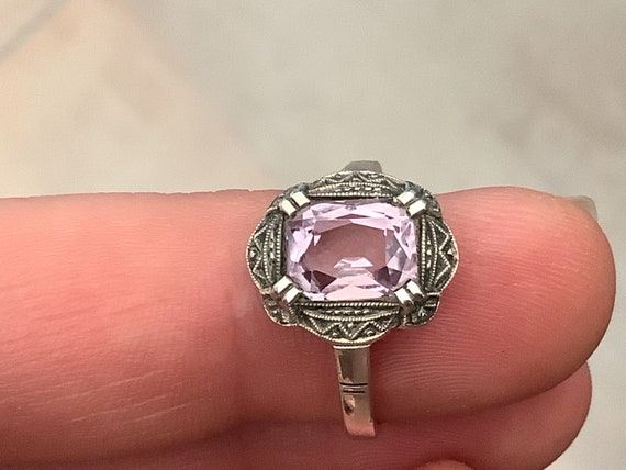 Vintage Art Deco 835 Silver and Amethyst stone ring uk size N 1/2 or US size 7.5