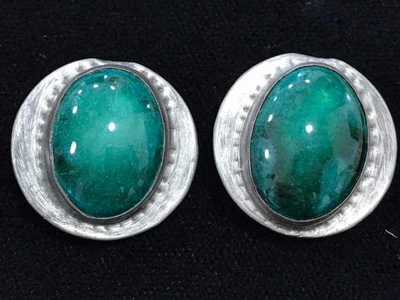 beautiful  Art Nouveau Ruskin style pewter clip on earrings green cabochon center