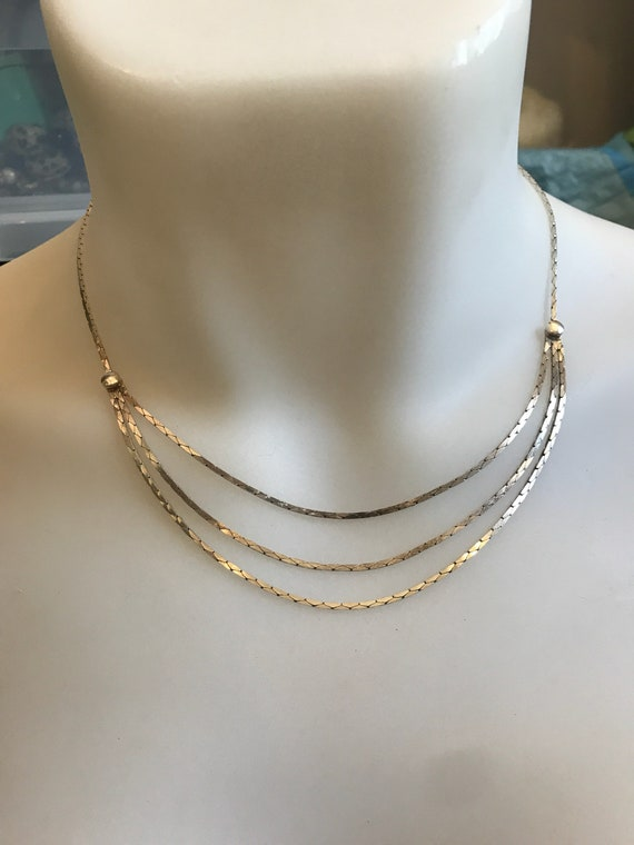 Vintage Italian silver graduated drop flat chain necklace
