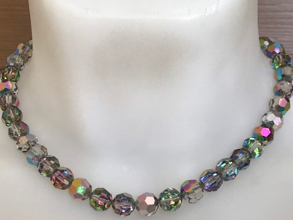 Art Deco auora Borealis carnival glass crystal chain beaded necklace 935 silver Marcasite clasp