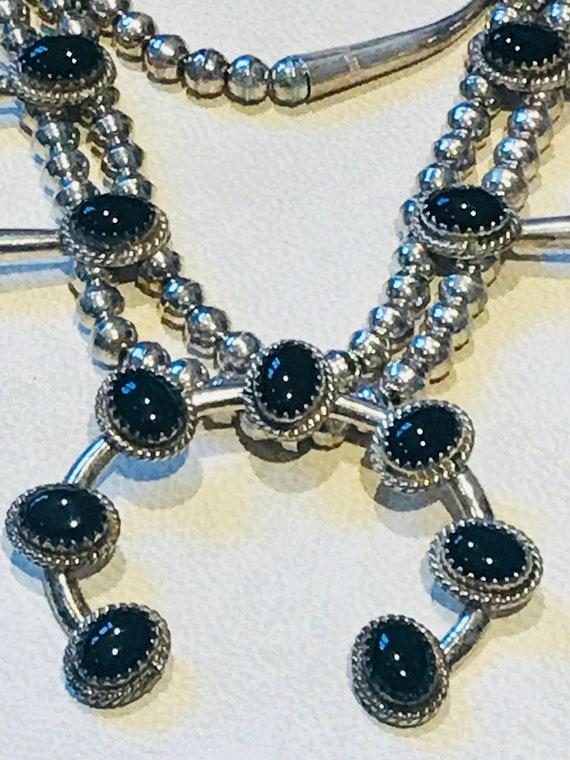 Black Onyx Squash Blossom Naja Sterling Silver Vintage Necklace & Earrings