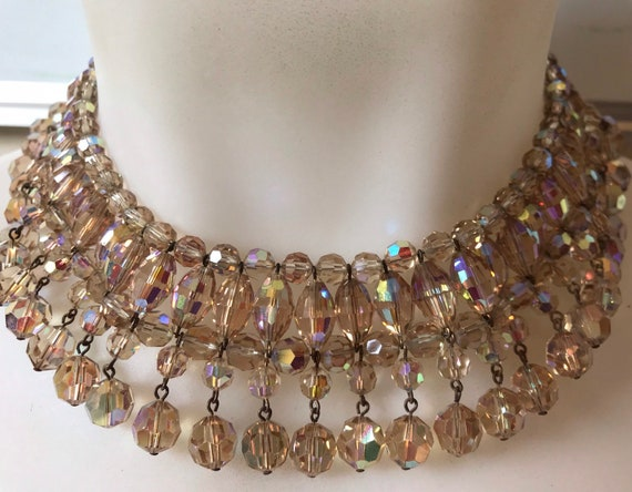 A Beautiful 1950s Vintage Aurora Borealis Crystal Collar Droplet choker necklace champagne gold