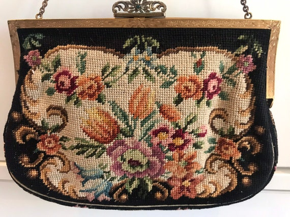 Beautiful original vintage tapestry needle point evening bag with ornate frame and clasp