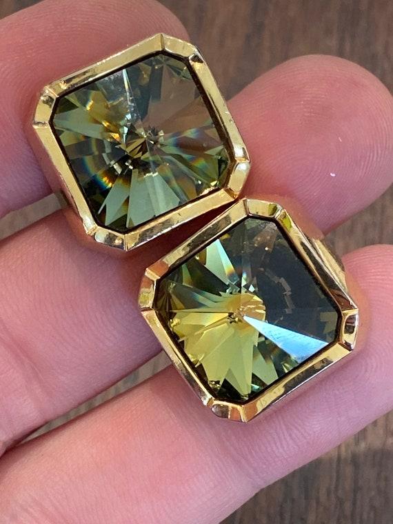 Vintage  1970s Heavy gold plated RIVOLI Crystal Cufflinks