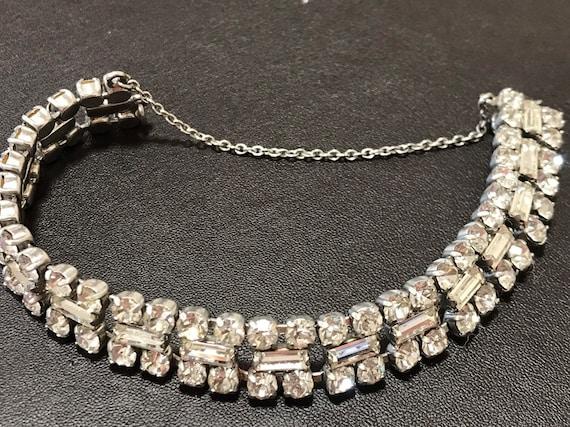 Super sparkling vintage Diamanté bracelet baguette and brilliant round cut stones