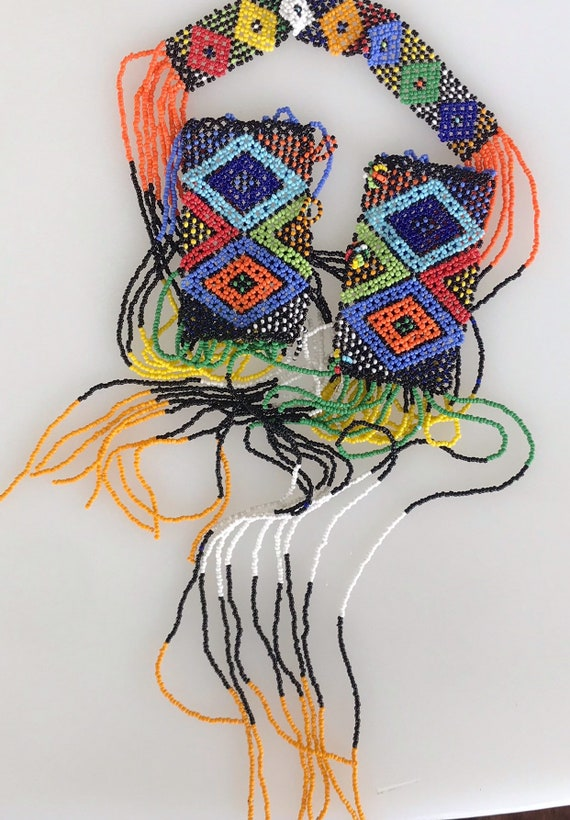 Outstanding vintage African multi coloured beaded statement piece bib necklace