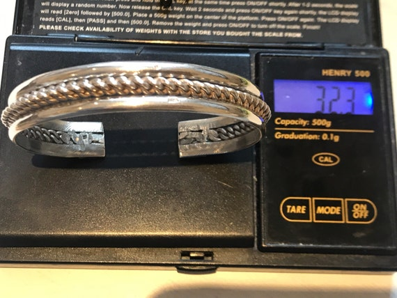 Vintage Silver Tribal Torque Bedouin Bangle  7.5'' Rope Twist Pattern Heavy 32 grams Arabic hallmarks
