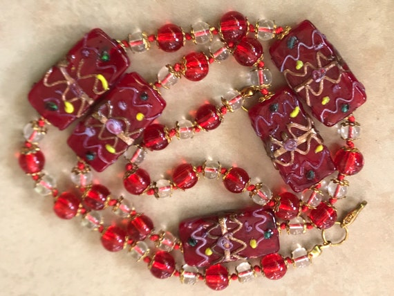 Bright red vintage lamp work glass beaded necklace